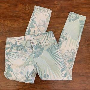 Gap Always Skinny White Floral Jeans Crop Sz 25